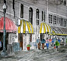Savannah River Street Cityscape art 2 by derekmccrea