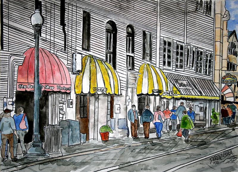Savannah River Street Cityscape art 2 by derekmccrea