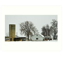 A Herd in the Snow Art Print