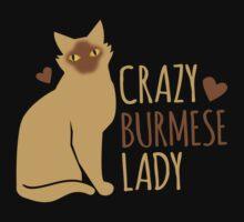 Crazy Burmese Cat Lady Kids Tee