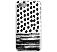 Zoe - Black and white dots, stripes, painted, painterly, hand-drawn, bw, monochrome trendy design iPhone Case/Skin