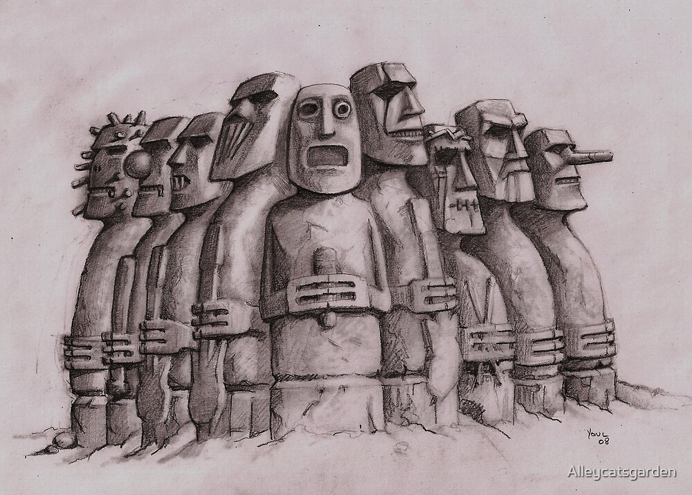 Heavy Rock Gods - Slipknot Island statues by Alleycatsgarden