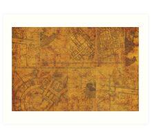 Distressed Maps: Marauders Map Inside Art Print