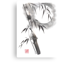 Moon blade bamboo sumi-e painting  Canvas Print