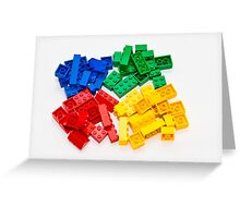 4 colors lego bricks blue green yellow red Greeting Card
