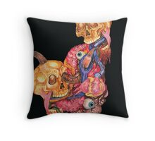 Watercolor Skull, Heart and Guts Painting Throw Pillow