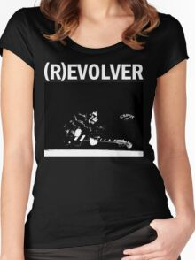 (R)EVOLVER print (white on black) Women's Fitted Scoop T-Shirt