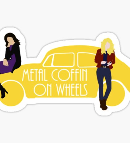 Metal Coffin On Wheels Sticker