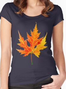 autumn maple-leaf Women's Fitted Scoop T-Shirt