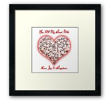 Love Joy & Happiness Pink Heart  Framed Print