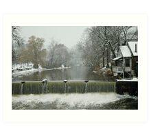 Winter by the falls Art Print