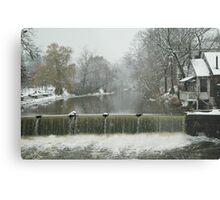 Winter by the falls Metal Print