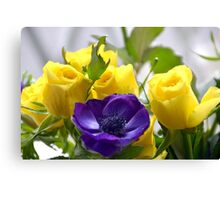 Yellow Roses and Purple Anemones......... Canvas Print