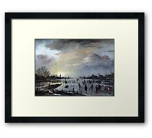 1658 van der Neer Winter Landscape with Skaters Anagoria Painting Photograph Framed Print