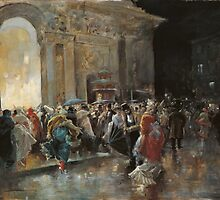 Arriving At The Theatre On A Night Of A Masqued Ball Oil On Panel  Painting Photograph by tshirtdesign