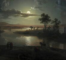 Abraham Pether - Evening Scene With Full Moon And Persons (1801) Painting Photograph by tshirtdesign
