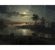 Abraham Pether - Evening Scene With Full Moon And Persons (1801) Painting Photograph Photographic Print