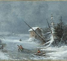 The Blizzard, Oil On Canvas Painting by Cornelius Krieghoff, c. 1860 Painting Photograph by tshirtdesign