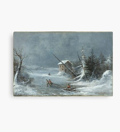 The Blizzard, Oil On Canvas Painting by Cornelius Krieghoff, c. 1860 Painting Photograph Canvas Print