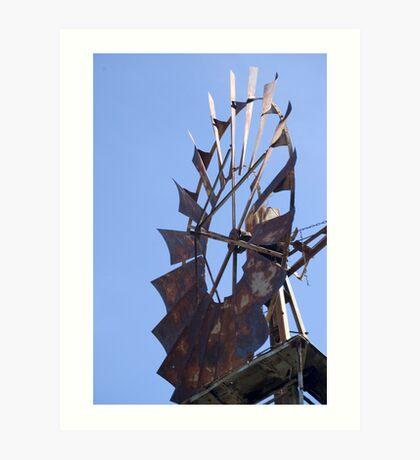 Blue sky, still windmill Art Print