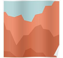 Geometric coral mountains duvet cover Poster
