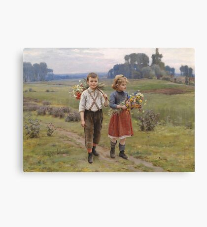 Kinder am Heimweg, signiert, datiert Cesar Pattein 1895, Öl auf Leinwand Painting Photograph Canvas Print