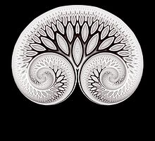 Tree of Life White on Black by Rupert  Russell