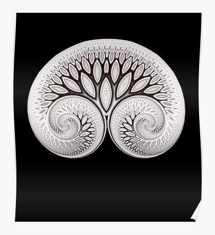 Tree of Life White on Black Poster