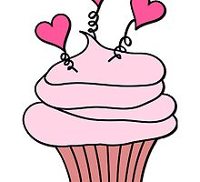 Cute Pink and Black Hearts Cupcake Pattern by HavenDesign