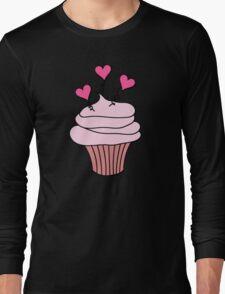 Cute Pink and Black Hearts Cupcake Pattern Long Sleeve T-Shirt