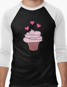 Cute Pink and Black Hearts Cupcake Pattern Men's Baseball ¾ T-Shirt