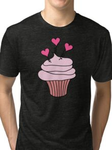 Cute Pink and Black Hearts Cupcake Pattern Tri-blend T-Shirt