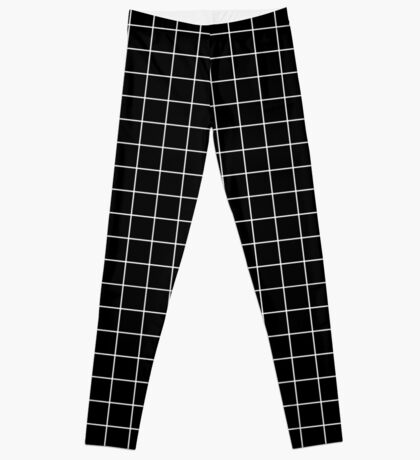 black grid minimalist design Leggings