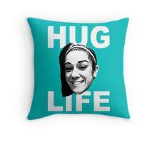 HUG LIFE - White Font Throw Pillow
