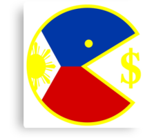 Pac Man Eats Money Canvas Print