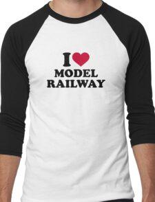 I love model railway Men's Baseball ¾ T-Shirt