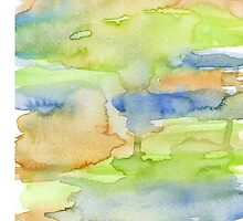 orange , blue and green watercolor colors by Nicolaiivanovic