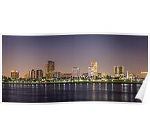 Long Beach Skyline at Night Poster