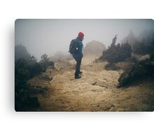 NEPAL:TRAVELLER IN THE FOG Canvas Print