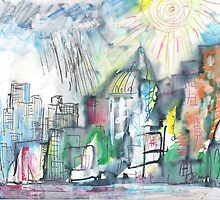 SPRING STORM IN THE CITY(C2010) by Paul Romanowski