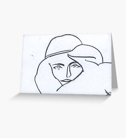 Self-portrait in a hat Greeting Card