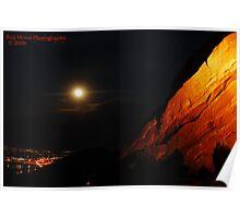 Full Moon Over Red Rocks Poster