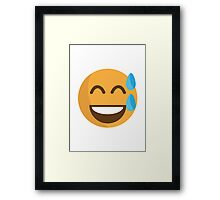 Smiling Face With Open Mouth And Cold Sweat EmojiOne Emoji Framed Print