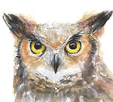 Owl Watercolor Painting by OlechkaDesign