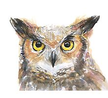 Owl Watercolor Painting Photographic Print