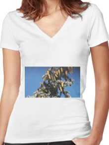 Blue Skies 001 Women's Fitted V-Neck T-Shirt