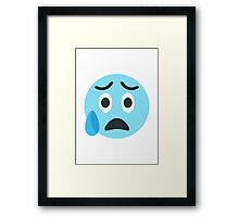 Face With Open Mouth And Cold Sweat EmojiOne Emoji Framed Print