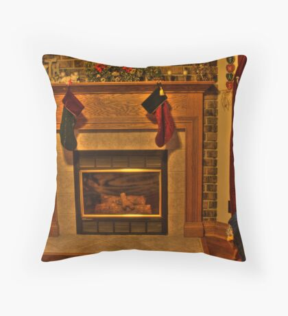 The Stockings Were Hung... Throw Pillow