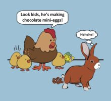 Bunny makes chocolate poop funny cartoon by ironydesigns