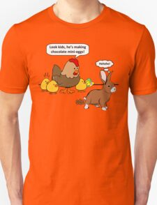 Bunny makes chocolate poop funny cartoon Unisex T-Shirt